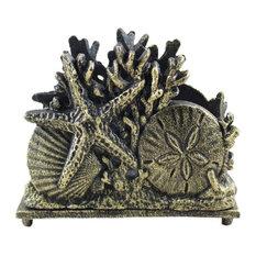 "Cast Iron Seashell Napkin Holder, Antique Gold, 7"""
