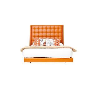 St Tropez Bed, Navy Faux Leather, Hermes Orange Faux Leather