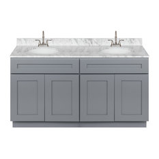 Cherry Double Bathroom Vanity 60-inch Cara White Marble Top Faucet LB6B