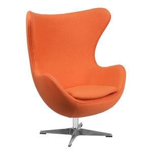 Wool Fabric Egg Chair, Orange By Flash Furniture Amazing