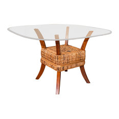 """42"""" Belize Dining Table Base In Sienna Finish, Tempered Bevel Edge Glass"""