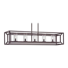 Seeded Glass Linear Chandelier With Cage Frame Bronze 5-Light