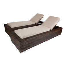 Ohana Mixed Brown Chaise Lounge Set, Sunbrella Antique Beige