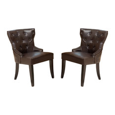 GDFStudio - Zatgan Brown Leather Tufted Dining Chairs, Set of 2 - Dining Chairs