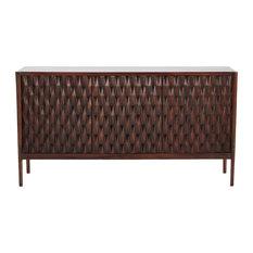 Modern Diamond Carved Solid Wood Console Cabinet  Media Mid Century Geometric