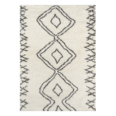 "Maya Collection Rug, Ivory With Charcoal, 5'3""x7'6"""
