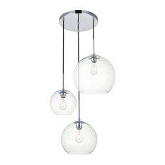 "Elegant Lighting LD2218 Baxter 3 Light 21""W Multi Light Pendant - Chrome"