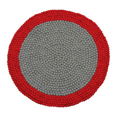 """Lilipinso """"Neo Mix"""" Felted Wool Ball Rug, Red, 90 cm"""