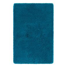 Hand-Woven Contemporary Shag Rug 8'6 Square Blue