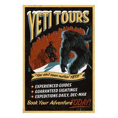 """""""Yeti Tours, Vintage Sign"""" Print, 12""""x18"""""""