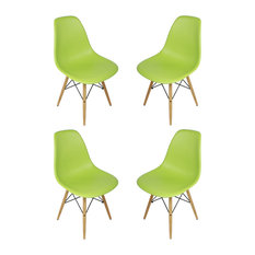 Ariel - Set of 4, DSW Lime Green Mid Century Modern Dining Shell Chair, Wood Eiffel Legs - Dining Chairs