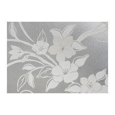 Chois #002 White Flowers Window Film Privacy Decor Frosted Films Adhesive Cling,