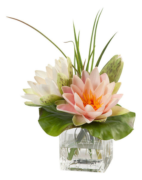 Lotus blossom and lily pad silk flower arrangement traditional lotus blossom and lily pad silk flower arrangement mightylinksfo Images