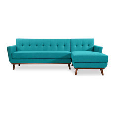 Lovely Kardiel   Jackie Midcentury Modern Sectional Sofa, Turquoise, Material:  Cashmere, Right