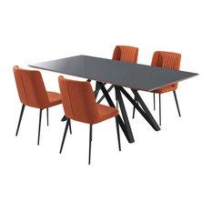 Maine Contemporary Grey Glass 5 Piece Metal Dining Set