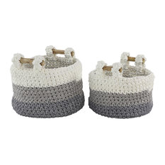 Round White/Gray/Blue Striped Cotton Rope Baskets With Wood Handles, 2-Piece Set
