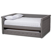 "Modern Fabric Upholstered Daybed With Trundle, Gray, Full, 86.22""x57.09""x37.48"""