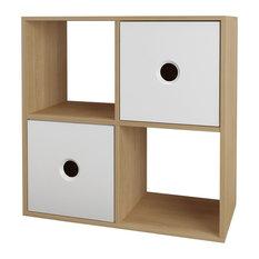 Domino Bookcase, Natural Maple/White