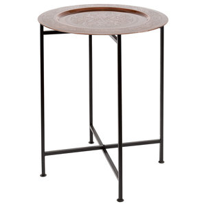 Iron and Copper Tray End Tables, Set of 2