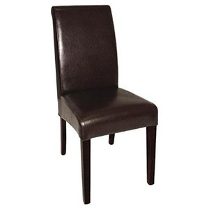 Contemporary Set of 2 Chairs Upholstered, Dark Brown Leather, Curved Back Design