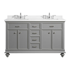 "Charlotte Vanity with Carrara Quartz Stone Top, Grey, 60"", Without Mirror"