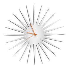 MCM Starburst Clock, White/Orange Midcentury Modern Style Wall Clocks
