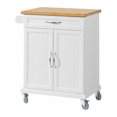 Modern Stylish Trolley Cart, Bamboo Wood With 1-Drawer and Bottom Cabinet