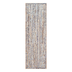 """Hand Braided Jute and Denim Striped Area Rugs, Blue, 2'6""""x8'"""