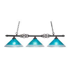 "Elegant� 3 Light Island Light With 12"" Teal Crystal Glass (866-DG-448)"