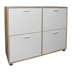 Bigfoot Large 24-Pair Shoe Cabinet, Light Oak and White