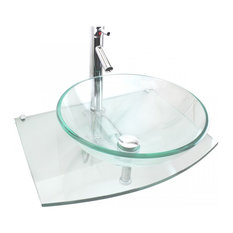 Tempered Glass Vessel Sink Wall Mount Round Clear Durable