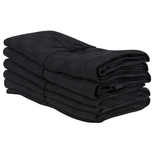 Axlings Chess Linen And Cotton Kitchen Towel, 2 Pack, Black and Black