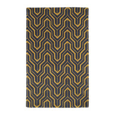 Kaleen Rugs Contemporary Yellow Gray Wool Rug 8 X11 Revolution Rev01
