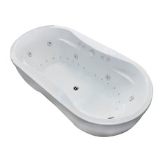 Monet Oval Freestanding Jetted Bathtub With Center Drain