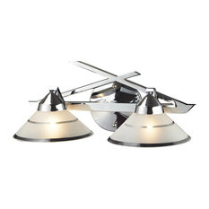 Refraction 2-Light Wall Bracket, Polished Chrome And Etched Clear Glass