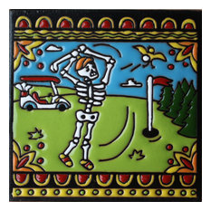 "6""x6"" Golf Day of the Dead Clay Tile"