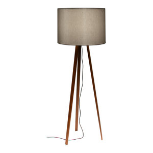 Tall Luca Stand Floor Lamp, Smoked Oak and Grey Lampshade