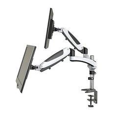 Modern Stylish Dual Monitor Mount Arm, Steel Metal, Gas Powered Design