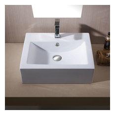 "Rectangular Ceramic Bathroom Vessel Sink, 26"", Brushed Nickel Drain"