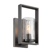 Charcoal Bathroom Wall Sconce with Reversible Glass Shade