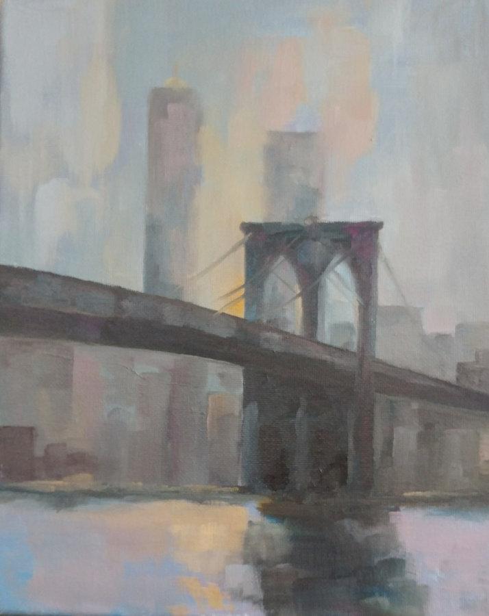 SOLD  Brooklyn Bridge, 10x8, framed