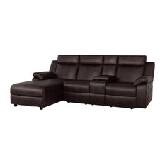 Lexicon Dalal Faux Leather Reclining Sectional With Left Chaise In Dark Brown
