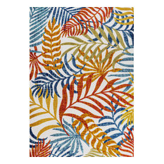 Tropics Palm Leaves Indoor/Outdoor Cream/Orange 8' x 10' Area Rug