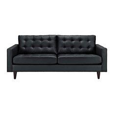 Upholstered Bonded Leather Sofa Black