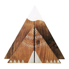 4-Piece Stained Wood Mountain and Teepee Bookend Set