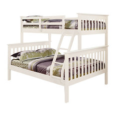 Donco Trading Co - Nebula Kids Bunk Bed With Built-In Ladder, White, Twin/Full - Bunk Beds