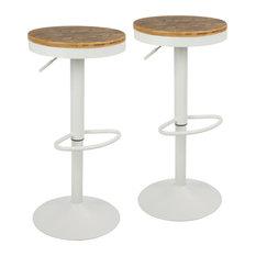 LumiSource Dakota Adjustable Barstool With Swivel In White Set Of 2