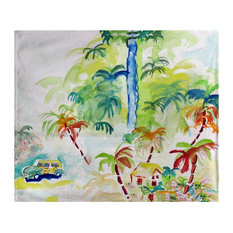 Betsy Drake Colorful Palms Fleece Throw Blanket 60 X 50 Inches
