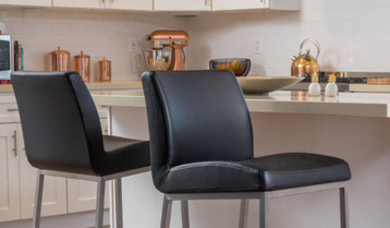 Velvet and Leather Bar Stools