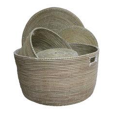 Ndeute Baskets, White, Set of 3